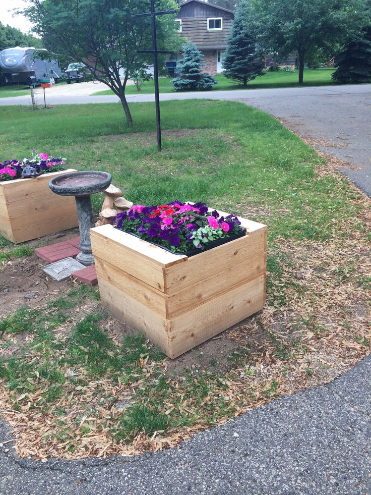 planter boxes to cover septic tanks finished with flowers my husband used cedar 64