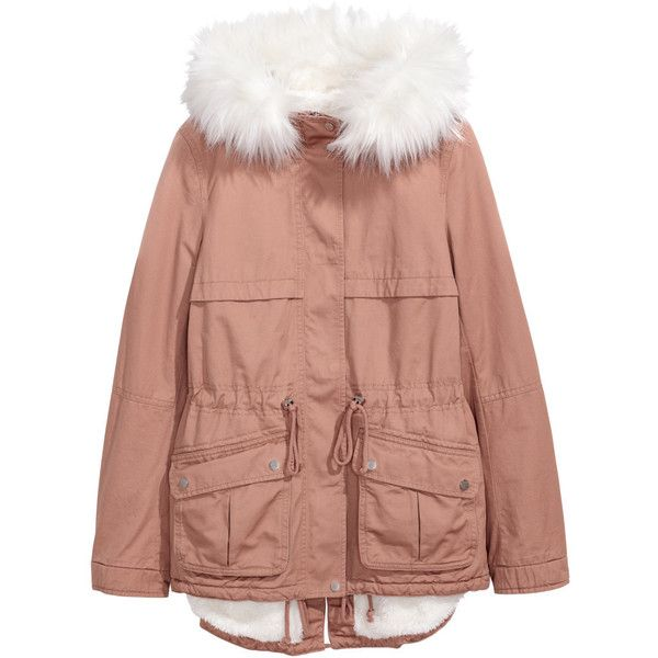 Pile-lined Parka $59.99 (185 BRL) ❤ liked on Polyvore featuring outerwear, coats, faux fur trim parka, beige coat, beige parka, fur-lined coats and parka coats
