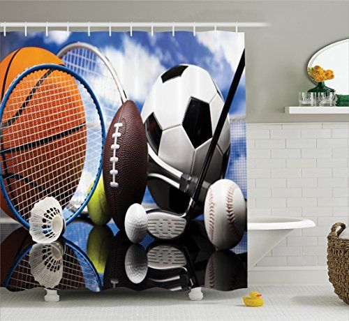 Sports Theme Decor Collection, Sports Equipment Football Soccer Darts Ice  Hockey Baseball Basketball Polyester Fabric