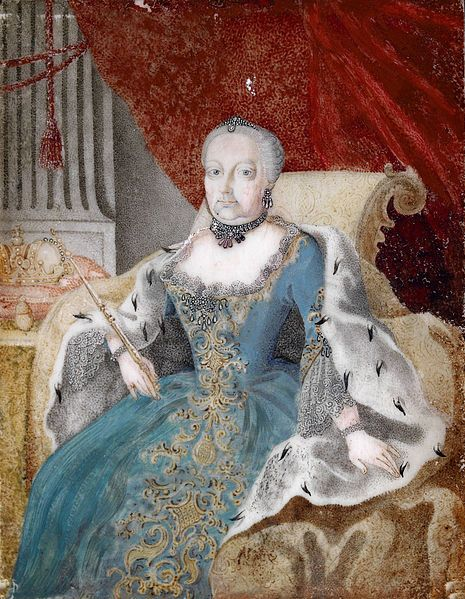Anonymous (Austrian),Portrait of Maria Theresia (1717-1780),Bildnis der Kaiserin Maria Theresia mit Zepter und Krone,in einem Hermelinumhang auf dem Thron sitzend,18th century,watercolor on ivory miniature,10×8 cm.