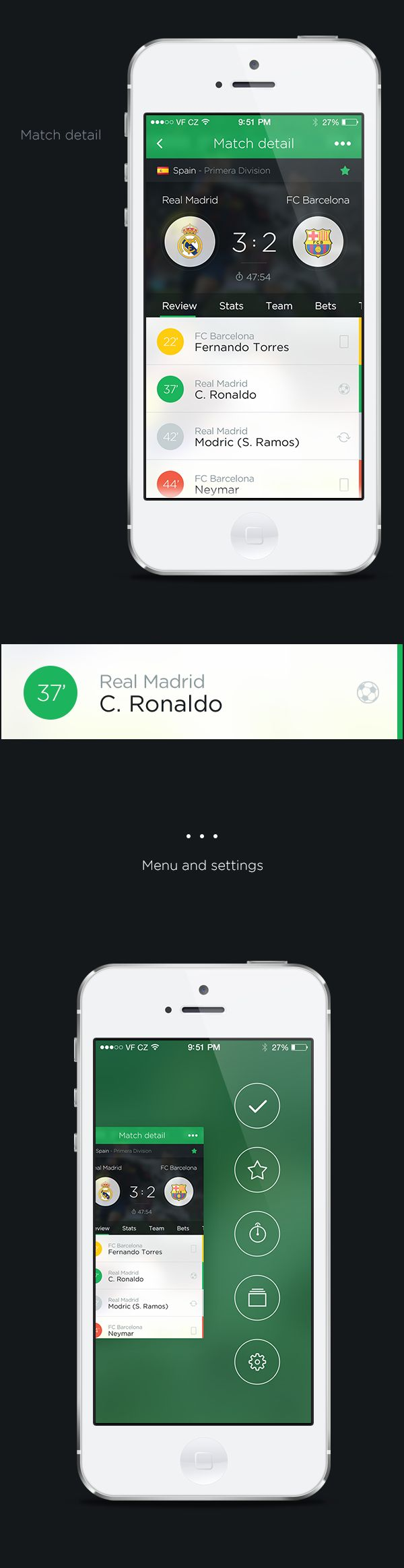 Livesport app concept by Pierre Borodin, via Behance