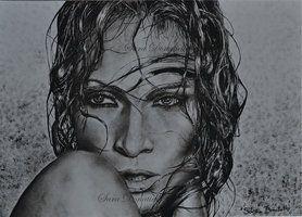 jennifer lopez drawing portrait with paint, dry brush http://saraportrait.deviantart.com/