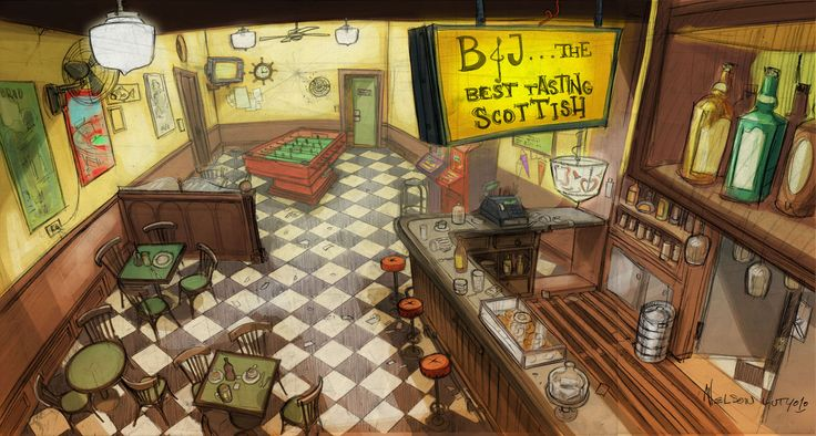 bar interior http://3.bp.blogspot.com/-yZeuF25Yd8s/UejZwmMD2gI/AAAAAAAABe0/IGStcqVp6Gs/s1600/bar+interior+copy.jpg ★ || CHARACTER DESIGN REFERENCES | キャラクターデザイン  • Find more artworks at https://www.facebook.com/CharacterDesignReferences & http://www.pinterest.com/characterdesigh and learn how to draw: #concept #art #animation #anime #comics || ★