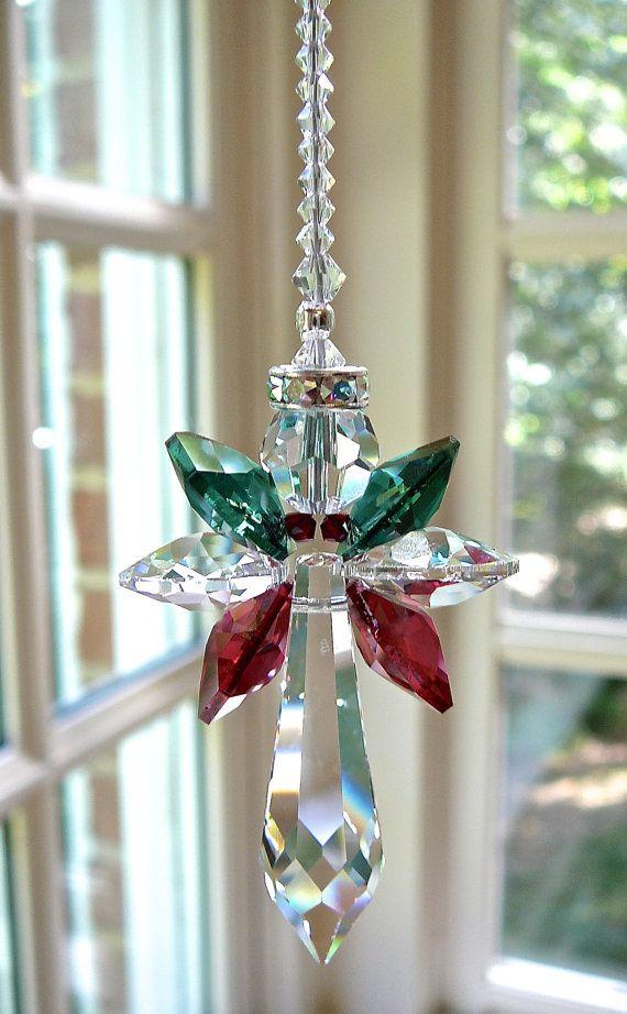 "Crystal ""CHRISTMAS ANGEL"" - Red and Green Swarovski Crystal Angel Suncatcher for…"