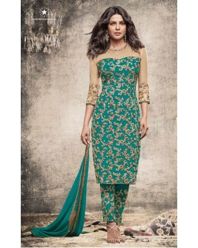 Sea Green Floral Embroidered Straight Suit