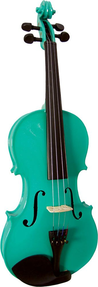 Blue Moon VG-105 Green Violin, Full Size, 4/4 size. Green finish violin outfit, Solid spruce top, maple body  at Hobgoblin Music USA