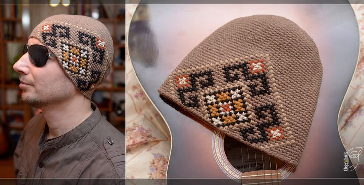 Beige men knitted crochet hat with black and yellow embroidery