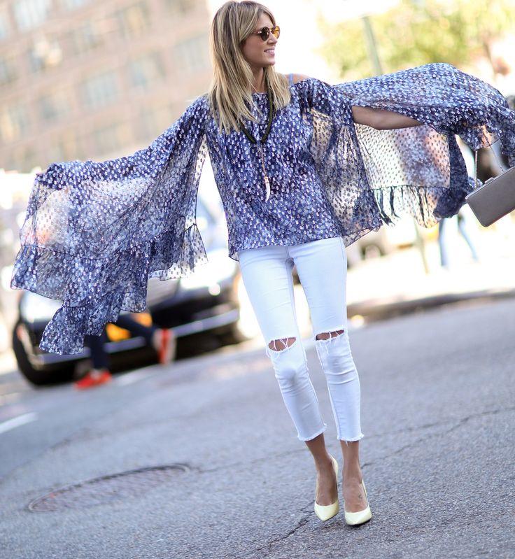 Porwane jeansy - trendy jesień-zima 2014/2015, fot. Imaxtree