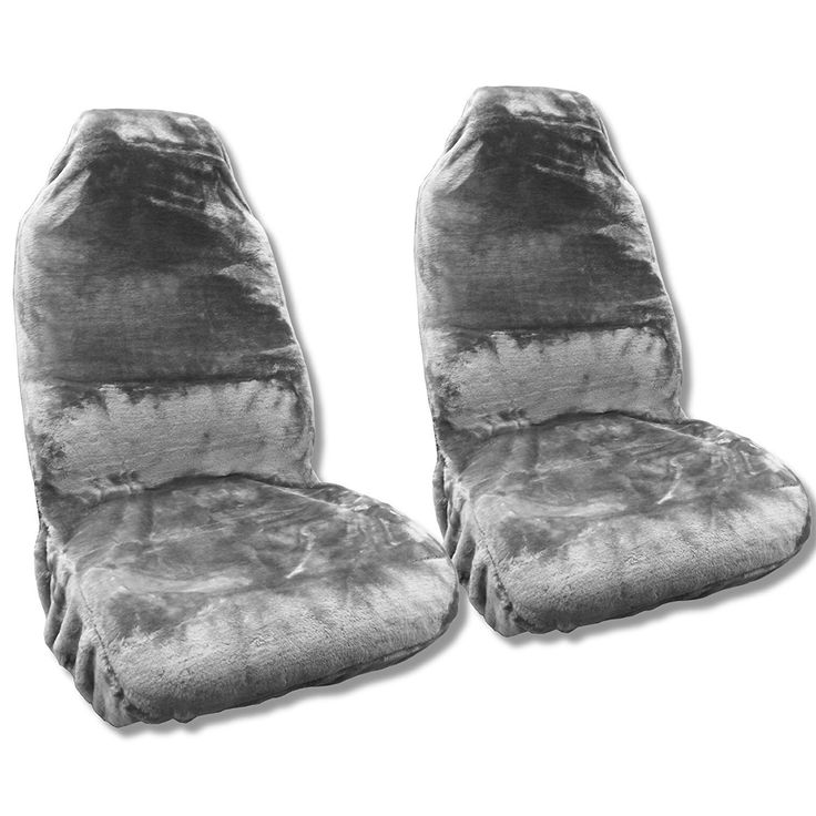Unique Gray Sheepskin Seat Cover Pair Soft Plush Wool Bucket Seat Covers (Color)