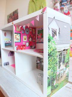 make dollhouse from bookshelf! wallpaper, tile, etc.