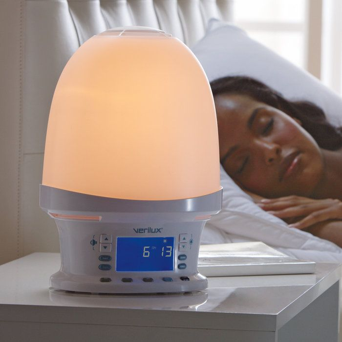 Rise & Shine Natural Wake-Up Light alarm clock -- when your alarm goes off, the light gradually turns on so you wake up naturally instead of a loud beeping. I NEED THIS!