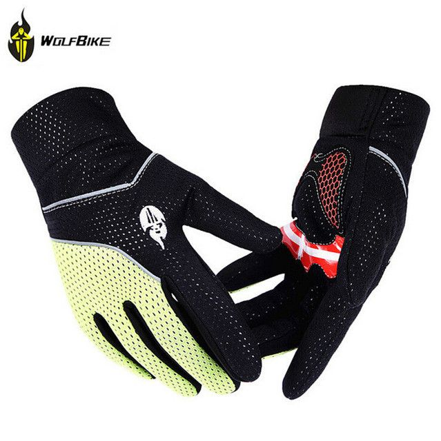 WOLFBIKE Thermal Fleece Rainproof Full Finger Winter Bicycle Glove Gel Silicone Pad Bike Guantes MTB Road Cycling Gloves for Men