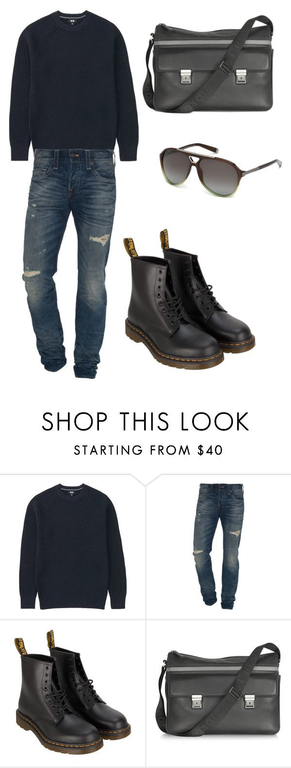 """Street style for men"" by dandifbr ❤ liked on Polyvore featuring Uniqlo, True Religion, Dr. Martens, Giorgio Fedon 1919 and Dsquared2"