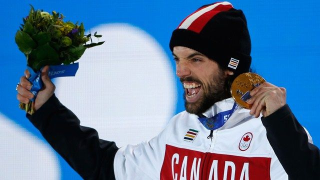Charles Hamelin celebrates his gold medal!