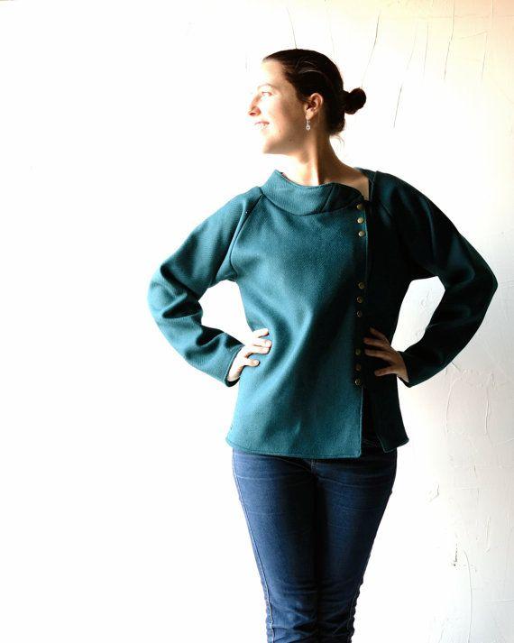Green coat, Wool jacket, Womens coat, Winter jacket, Teal coat, Plus size jacket, Blazer, Outerwear, women clothing, lined coat, wool coat