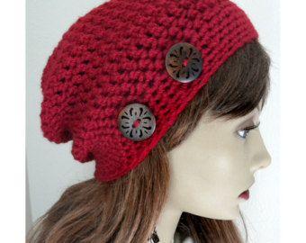 Rubí rojo Slouchy Beanie sombrero buttonsBoho de madera elegante mano Crocheted mujeres caen accesorios de moda otoño invierno