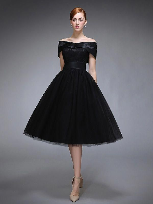 6259c52ae16 Vintage A-Line Off-the-Shoulder Lace Cap Sleeves Evening Dress   eveningcocktaildress