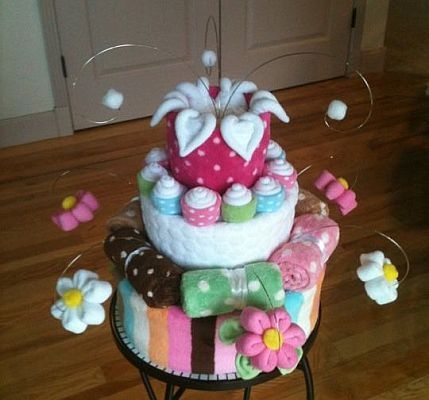 Step by step videos showing you how to make a diaper cake