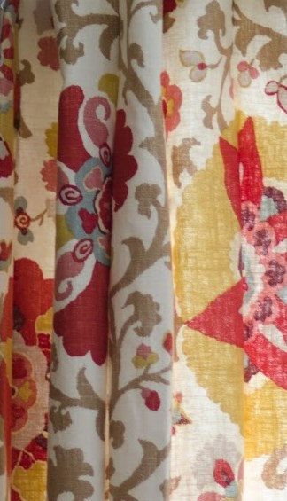 Floral Curtains Suzani Curtains Medallion Curtains Braemore Silsila Curry Panels  Decorative Yellow Blue Tan Maroon Curtains ONE PAIR