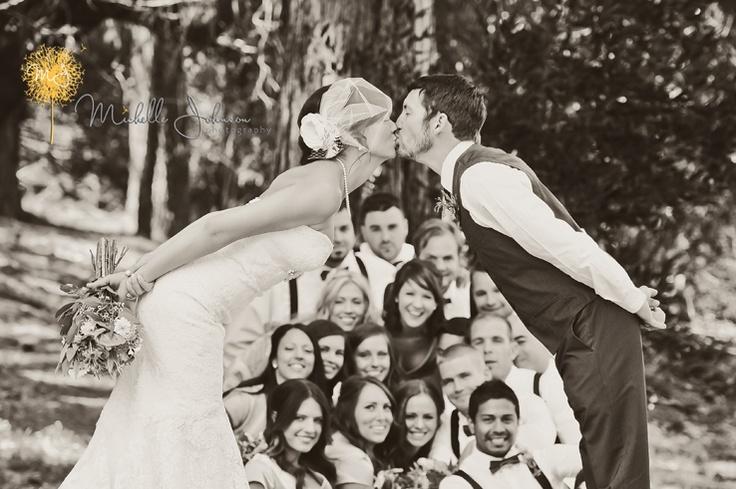Adorable Wedding Party Kissing Photo