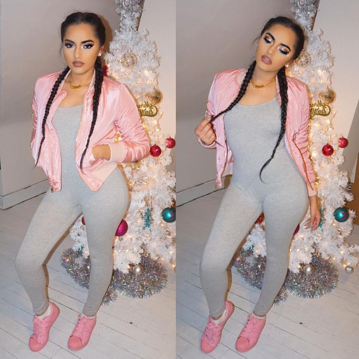 All Gray Romper Jumpsuit With Pink Bomber And Nike Shoes