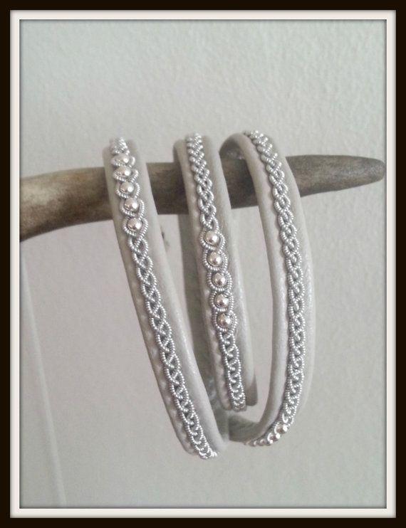 Triple Wrap Lapland Sami Bracelet Reindeer leather by liten82, $65.00
