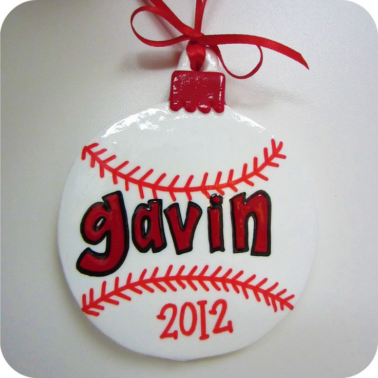 "Holiday Christmas Ornament - ""Baseball"" - Hand-painted Personalized Boy Sports. $12.00, via Etsy."