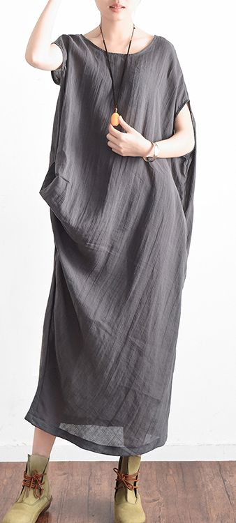 2017 original gray linen dresses plus size sundress asymmetric sleeveless maxi dress