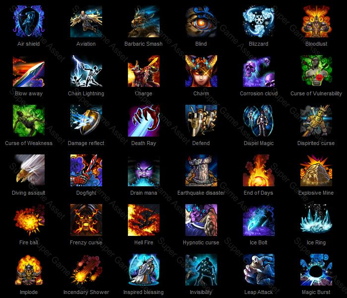 Hero Skills (Fantasy RPG series) - Hero Skill Icons are suitable for character skills, abilities and magic. Contain wide variety of character and action depicting all sort of skills, can be renamed to match the skills in your game.