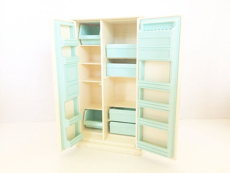 #Tomy Doll House Refrigerator #Vintage Aqua Blue Midcentury Retro 1970s White Faux Wood Dollhouse 1:12 Scale Made in Japan from Soaring Hawk available from #SoaringHawkVintage on #Etsy