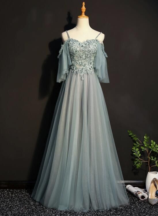 c9733fd0dc1 Lovely Tulle Off Shoulder Long Prom Gown