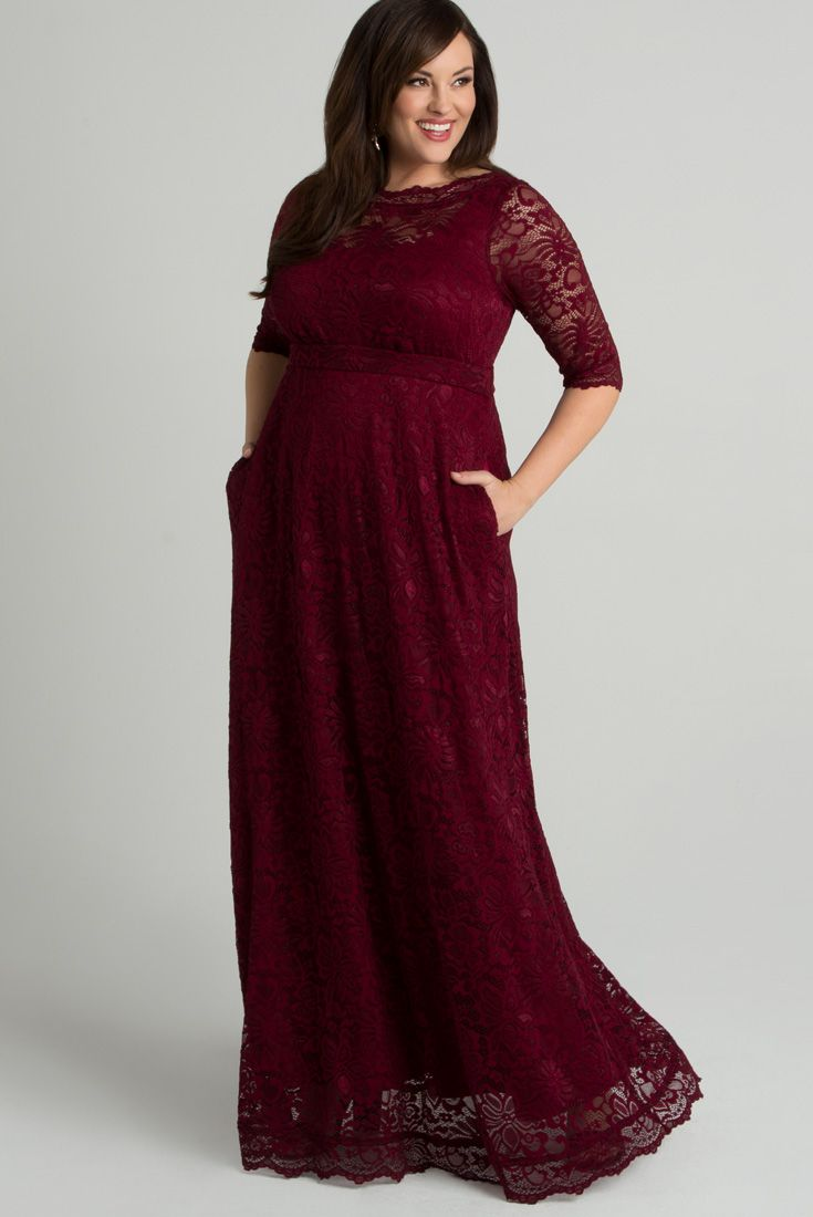 Our Leona Lace gown will make you feel gorgeous for your next special occasion. Our first gown with pockets, this dress is designed with soft, stretch lace that is flattering and comfortable. Made in the USA. Made exclusively for women's plus sizes. Made in the USA. Shop our entire collection of plus size gowns at www.kiyonna.com. #plussizebride #plussizefashion