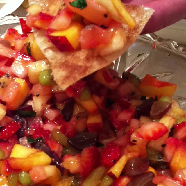 Fruit Salsa with Cinnamon Sugar Tortilla Chips.  This is delicious!