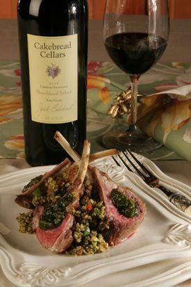 Cakebread Cellars Rack of Lamb w/Pistachio and mint pesto.  Bonus wine pairing :)