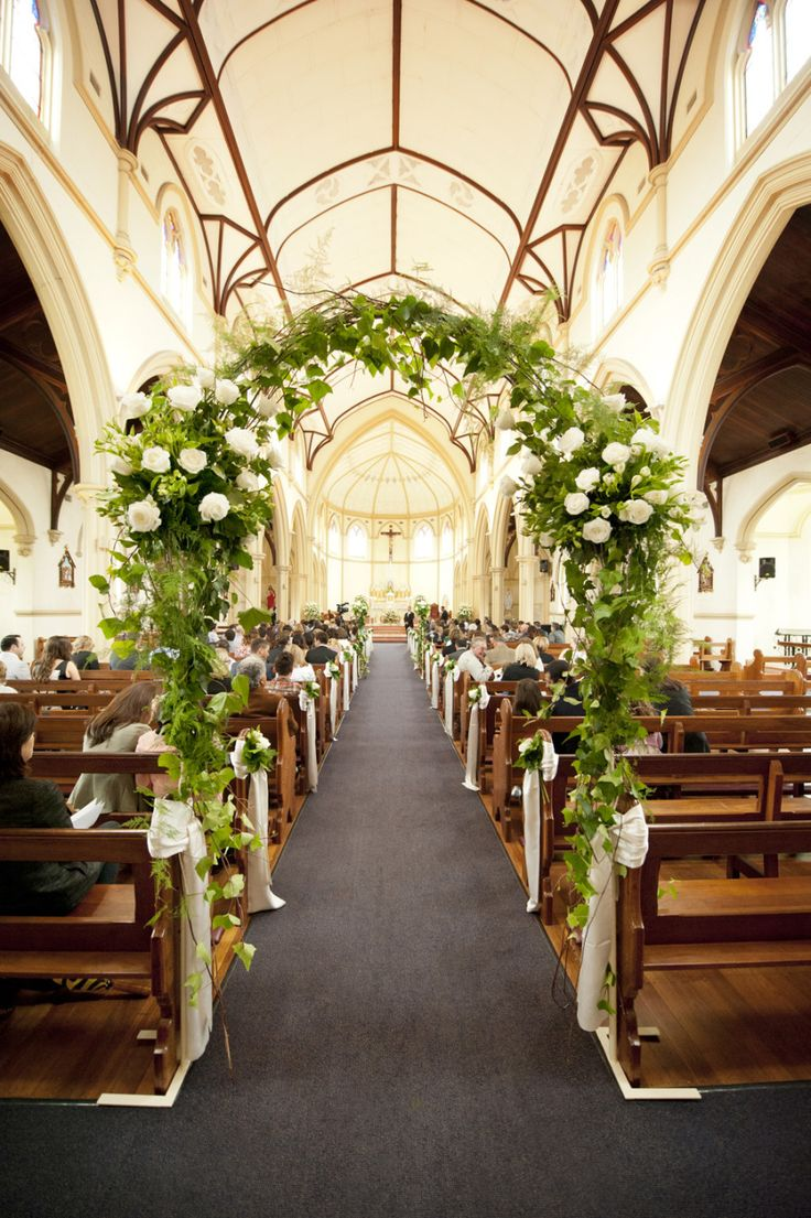 Wedding Arch Inside the Church - Love this idea!! See more of the wedding on SMP: http://www.StyleMePretty.com/australia-weddings/western-australia-au/perth/2014/03/03/traditional-perth-wedding/ Photography: DeRay & Simcoe
