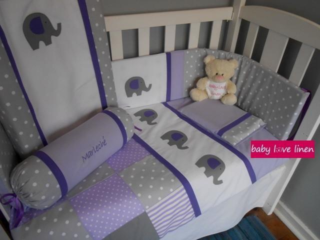 Grey & Lilac Ellie Cot Set