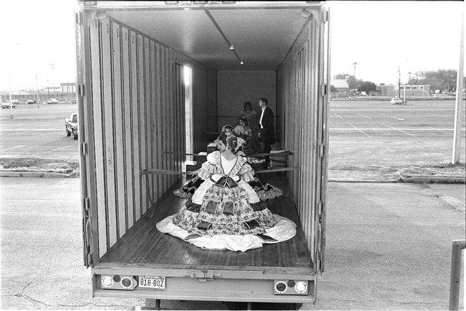 Debutantes Arriving at Ball in Moving Van, Laredo, Texas