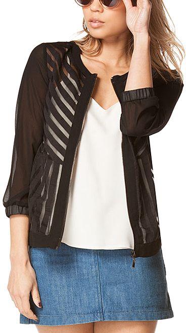 Black Sheer-Stripe Jacket