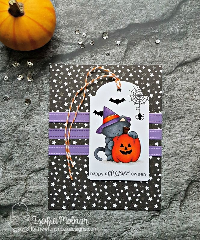 Halloween card by Zsofi for Newton's Nook Designs | Inky Paws Challenge | safsafdesign | Newton's Perfect Pumpkin