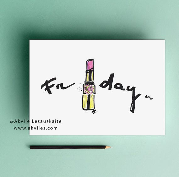 Fashion illustration poster Friday printable by akvileles on Etsy
