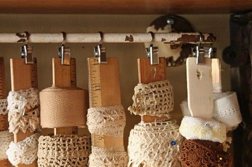 recollections craft room storage ideas | How about using wooden paint stirrers and rulers to wrap ribbon and ...