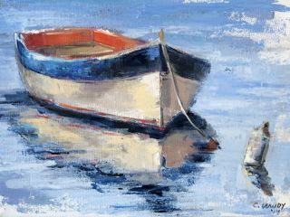 Colorful Row Boat by Christina Dowdy. 9x12 oil and wax on canvas. Value $375. Buy it now $425. Contact Page Gatewood for more information at bow829@aol.com  #Art #OilPainting #Painting