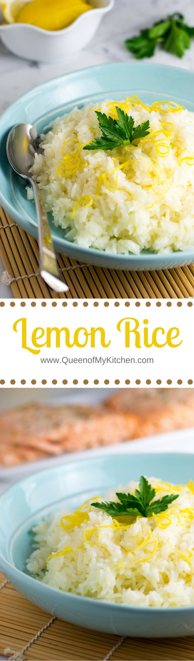 Lemon Rice – A fantastic way to jazz up plain white rice. Quick and easy. A great accompaniment to seafood and chicken. | QueenofMyKicthen.com