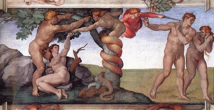 Το πρώτο αμάρτημα και η εκδίωξη από τον κήπο της Εδέμ Μιχαήλ Άγγελος  (1510)