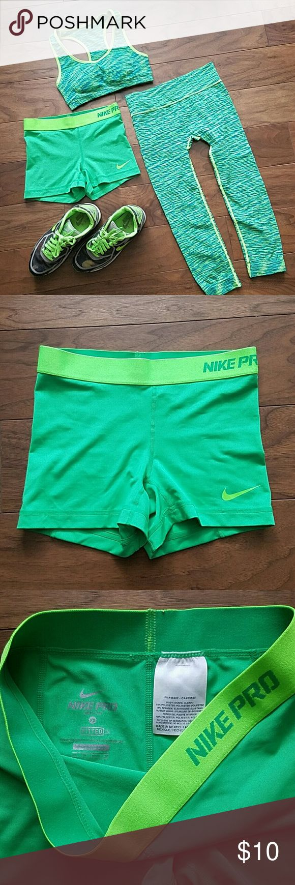 Nike Pro Lime Green Compression Shorts SIZE XS Lime green & neon Yellow Nike Pro Driver Fit compression shorts SIZE XS. Worn twice, no snags, Nike  Shorts