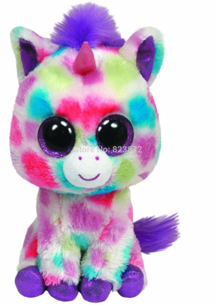 Original TY Big Eyes Beanie Boos Wishful Plush Unicorn Toys 15cm 6'' Ty Big Eyed Stuffed Animals Soft Toys for Children