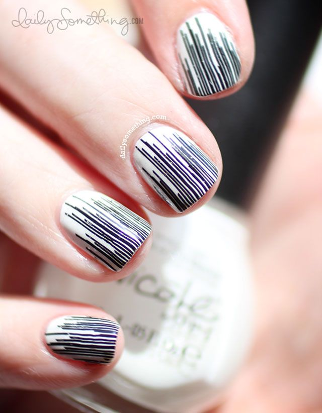 White with Black Lines Stamped Manicure