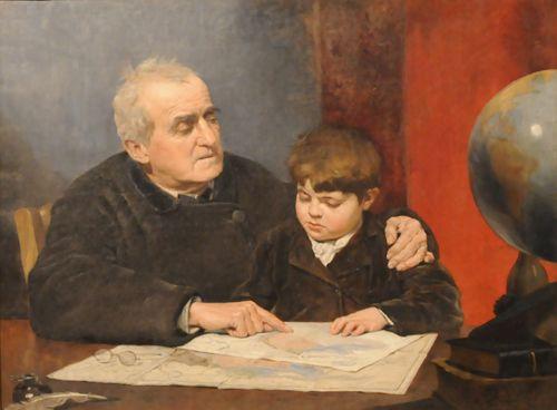 LA LECCIÓN DE GEOGRAFÍA, 1883 Óleo sobre tela 82 x 11 cm Museo Nacional de Bellas Artes