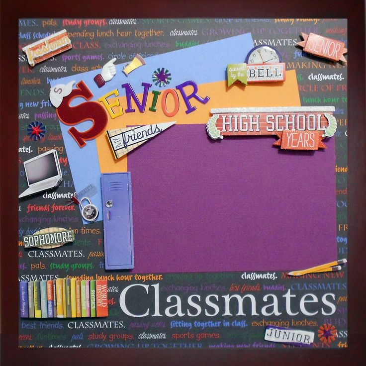 HIGH SCHOOL YEARS Premade Memory Album Page (Gallery Wood Shadow Box Frame Sold Separately) by theshadowbox on Etsy