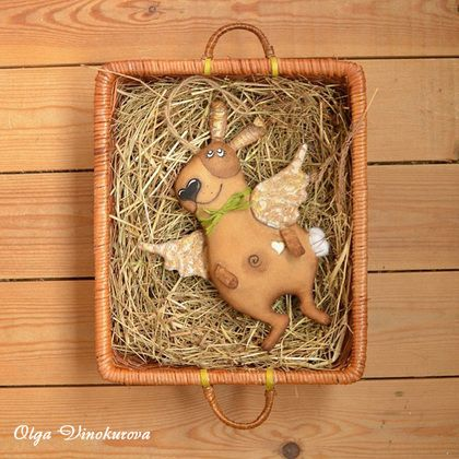 Зайцы-ангелочки - коричневый,белый,золотой,игрушка,авторская игрушка,игрушка ручной работы